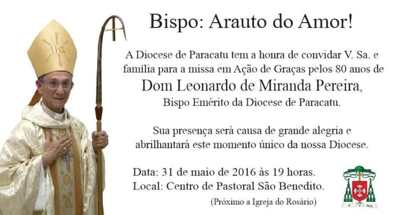 accd5e011d88b CNBB Regional Leste 2 : Diocese de Paracatu celebra 80 anos de dom Leonardo
